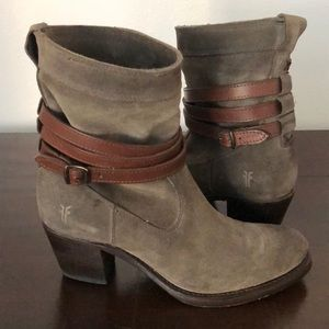 EUC Frye Jane Strappy Short Boot in Fatigue Suede